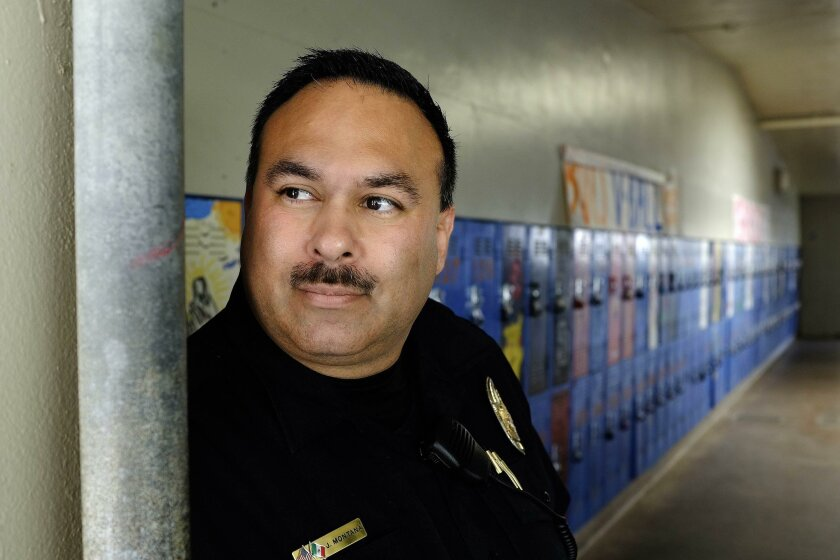 SAN DIEGO_ |Officer Jesus Montana, president of the San Diego Unified police officers assocation, works at Clairemont High School, where he is the assigned officer. He was assaulted by a student recently and is quoted in the story about the Lincoln High School officer who was also assautled.| John Gastaldo/San Diego Union-Tribune