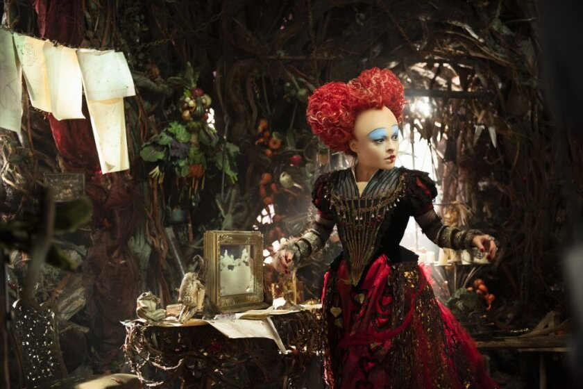 """Helena Bonham Carter portrays the Red Queen in a scene from """"Alice Through the Looking Glass."""""""