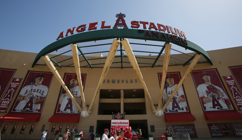 Fans enter Angel Stadium prior to a game.