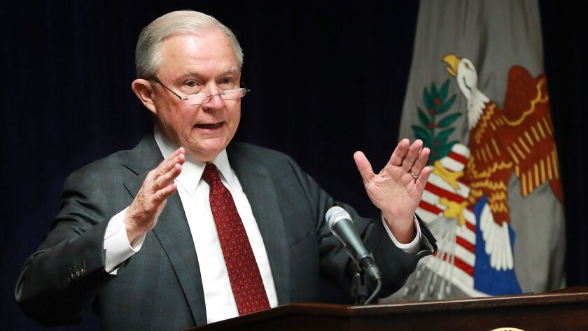 Atty. Gen. Jeff Sessions holds a news conference Aug. 9 in Macon, Ga.