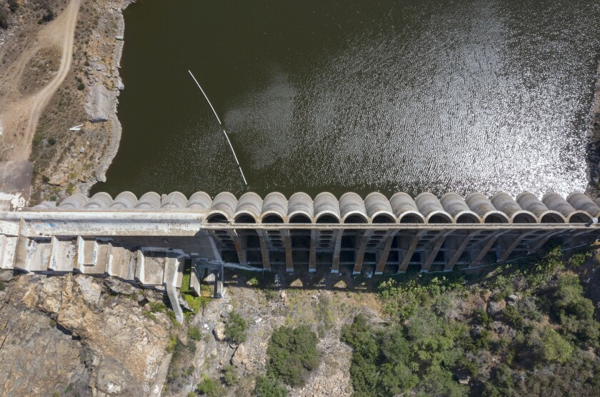 Top view of the Lake Hodges Dam at the southwest end of the lake.