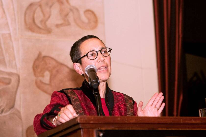 Barbara Brenner speaks at Breast Cancer Action's anniversary celebration in 2010 in San Francisco.
