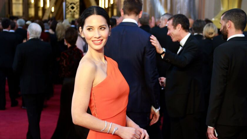 HOLLYWOOD, CA – February 28, 2016 - Olivia Munnduring the arrivals at the 88th Academy Awards on S