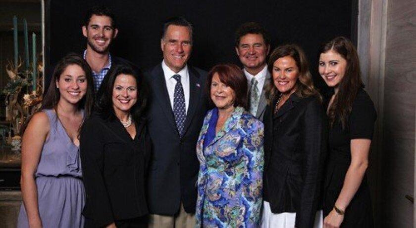 Alex Altholz, Denise Merlone, Zach Weinger, Mitt Romney, Jenny Craig, Michelle Weinger, Remy Weinger and Duayne Weinger (Photo: studiom la jolla)
