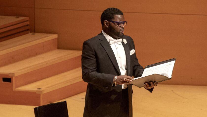"Countertenor John Holiday sings Bernstein's ""Chichester Psalms"" Thursday at Disney Hall."