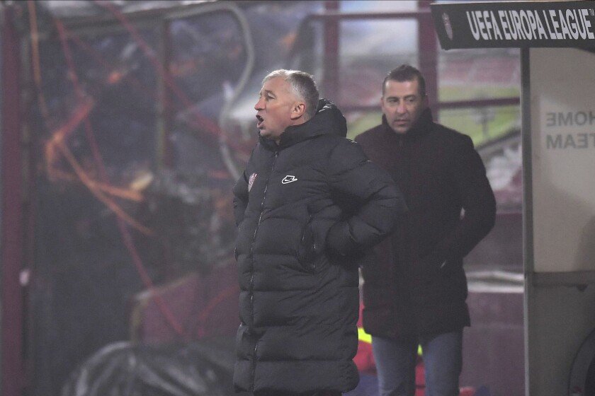 CFR's manager Dan Petrescu shouts during the Europa League, Group A, soccer match between CFR Cluj and Roma at the Constantin Radulescu Stadium in Cluj, Romania, Thursday, Nov. 26, 2020. (AP Photo/Raed Krishan)