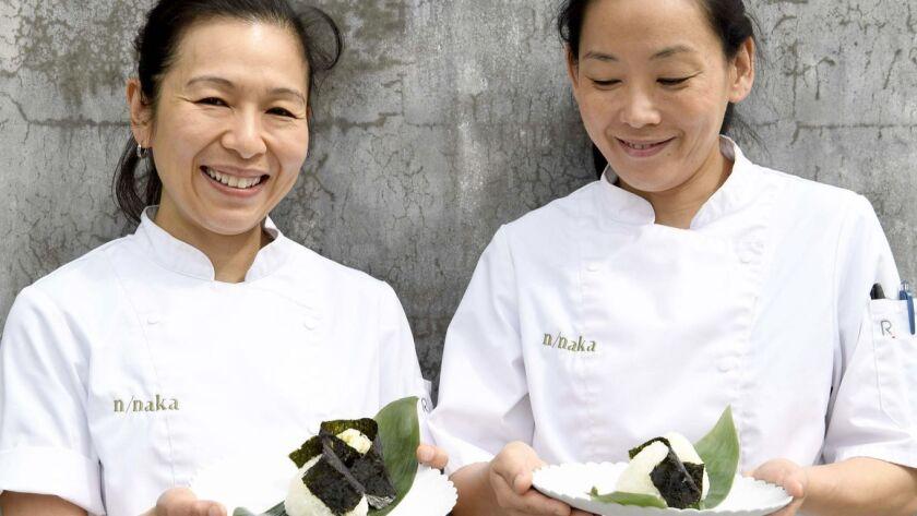 LOS ANGELES, CA-June 4, 2019: Niki Nakayama and Carol Idli at N/Naka making Onigiri on Tuesday, June