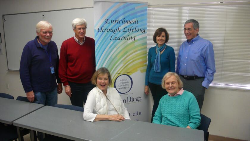 Staff and volunteers at The Osher Lifelong Learning Institute at UC San Diego include: (Seated) Carol Roberts and Pat Fleming. (Standing from left) Jim Wyrtzen, Jim Hanson, Valerie Chereskin and Mark Evans