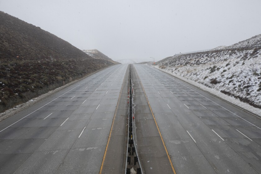 The 5 Freeway in Castiac, closed Wednesday due to poor weather  at higher elevations