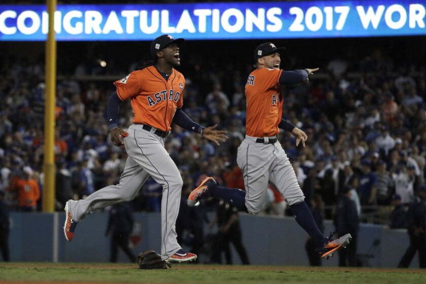Houston Astros celebrate 2017 World Series win at Dodger Stadium
