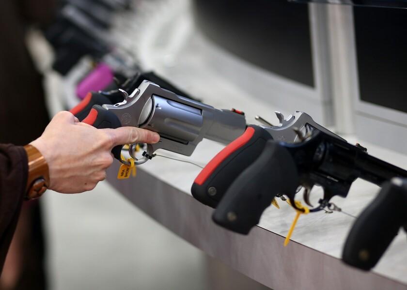 Handguns on display