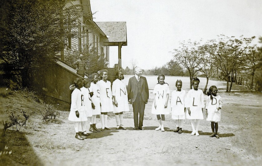 Philanthropist Julius Rosenwald with students from one of several U.S. schools he financed.