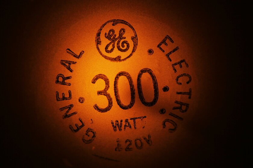 FILE - In this Jan. 14, 2011, file photo, a General Electric light bulb glows as it is turned off in Buffalo, N.Y. General Electric Co. reports quarterly financial results, Friday, Jan. 22, 2016. (AP Photo/David Duprey, File)
