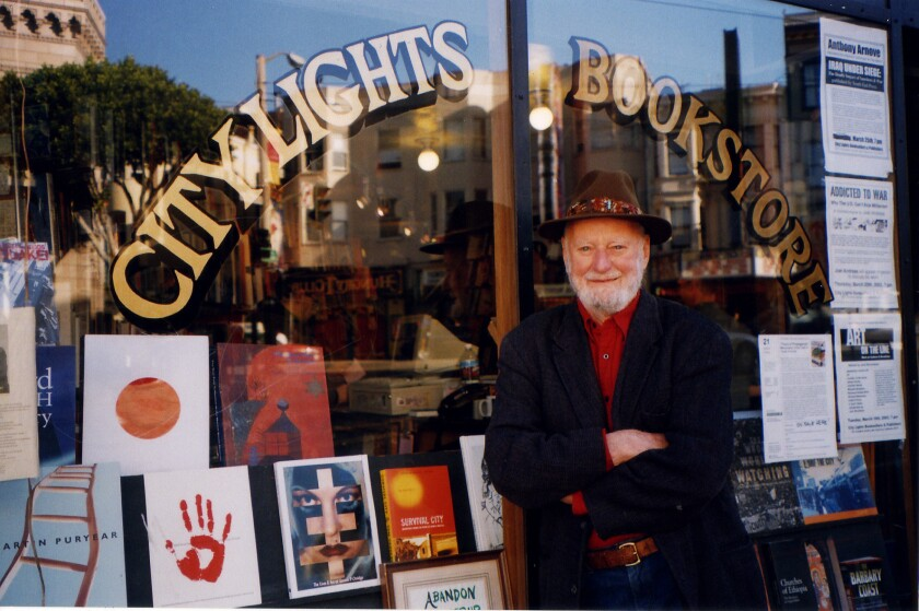 Lawrence Ferlinghetti outside of City Lights Bookstore in 2013. He turns 95 today
