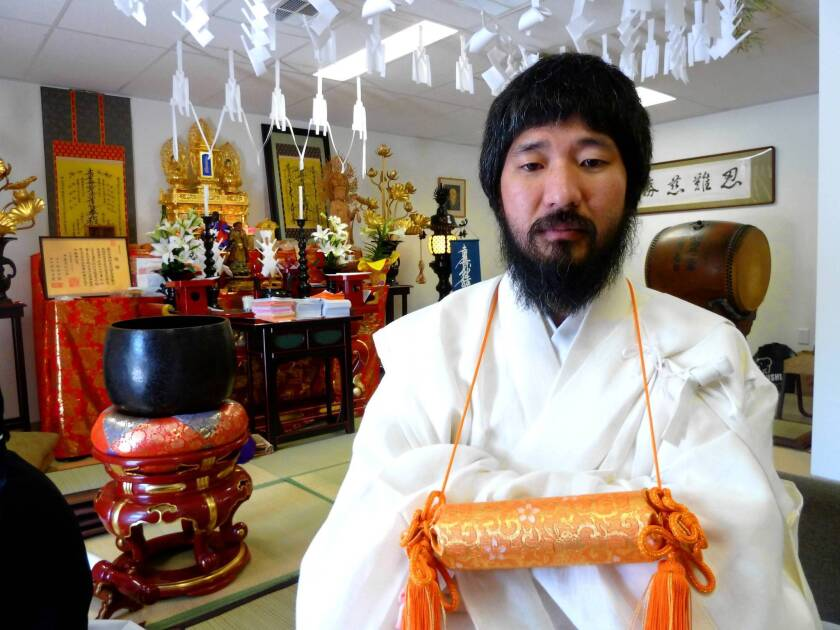 """The Rev. Douglas Kanai leads a new Buddhist temple in Las Vegas. To prove his worth, he withstood an ancient """"100 days"""" ritual of pain and deprivation in Japan -- the first American-born recruit to do so."""
