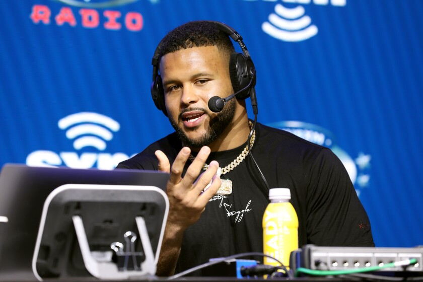 Rams defensive tackle Aaron Donald speaks during a Super Bowl LIV event Thursday in Miami.
