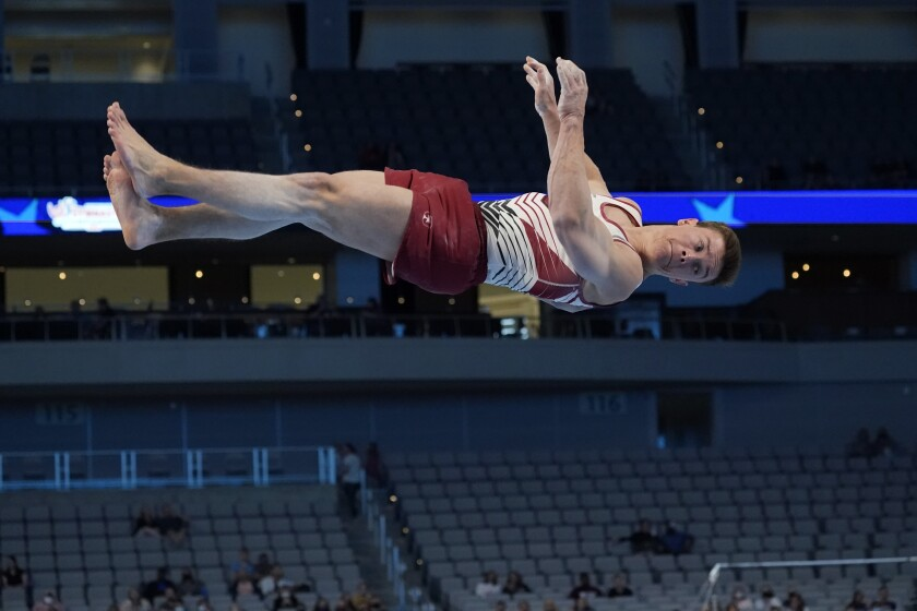 Brody Malone competes in the floor exercise during the U.S. Gymnastics Championships.