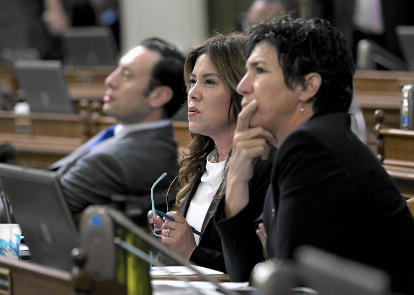 Assemblywoman Nora Campos (D-San Jose), center, watches as her wage equality bill failed to get enough votes for passage on the first ballot at the Capitol on Tuesday.