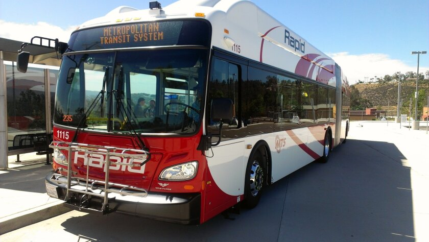 An MTS Rapid bus stops along its Escondido-to-downtown San Diego route. U-T San Diego file photo.