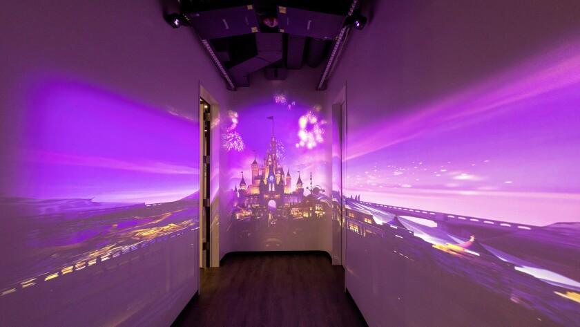 BURBANK, CA - NOVEMBER 19, 2018 - Disney's castle projection on the hallway walls at the StudioLAB,