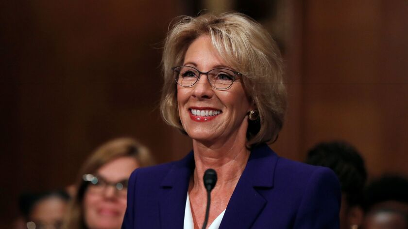 Donald Trump's pick for secretary of Education, Betsy DeVos, is shown during her confirmation hearing.