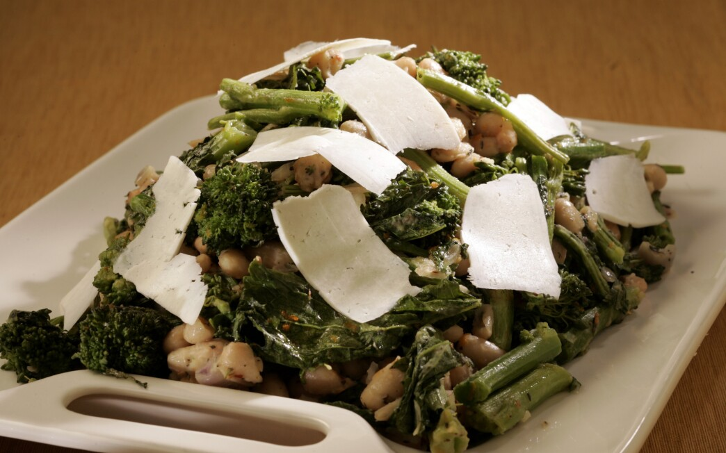 Roasted broccoli rabe with white beans and ricotta salata