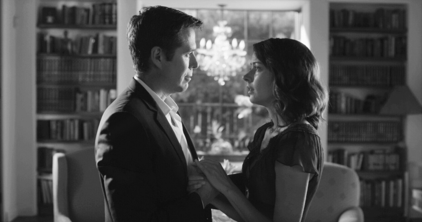 "Alexis Denisof and Amy Acker in the movie ""Much Ado About Nothing."""