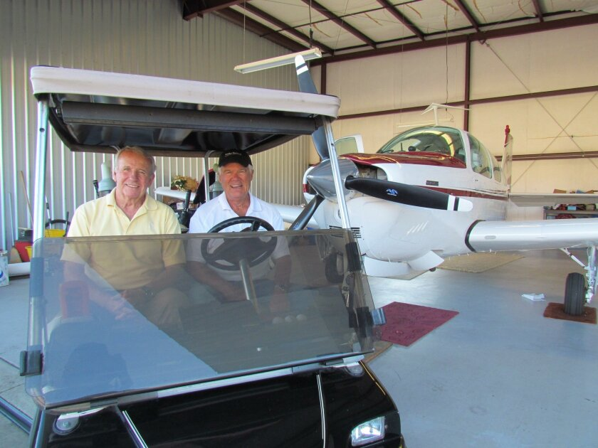 Bob Gary (left) and Fred Clarey are Pauma Valley Country Club are pilots and golf members who regularly use the airpark on the club grounds.