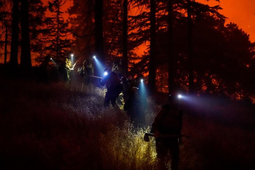 Laguna Hotshots Crew battles the Creek fire as it approaches the Southern California Edison Big Creek Hydroelectric Plant