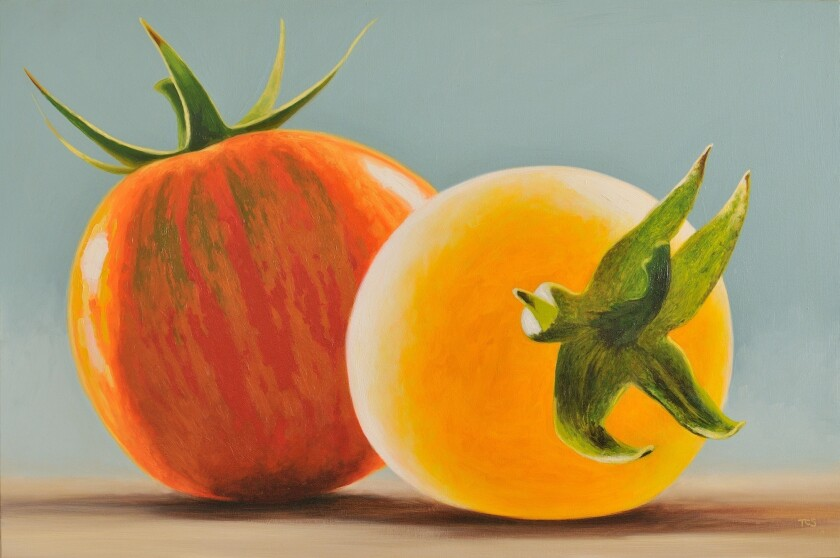 "Timothy Sellers' ""Red Zebra and Garden Peach Tomatoes,"" oil on canvas, 2011."