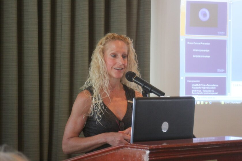 Dr. Anne Wallace discusses the latest findings on breast cancer at a Nov. 6 luncheon.