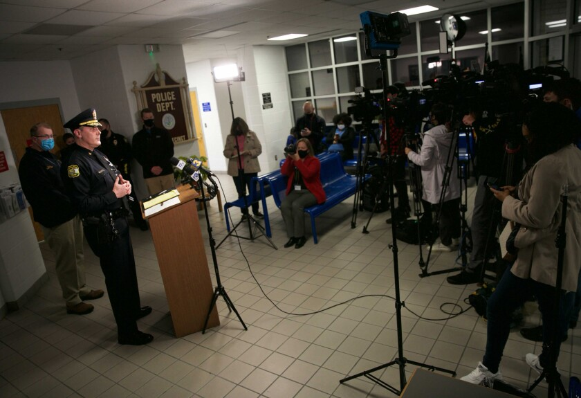 FILE - Virginia Beach Police Chief Paul Neudigate addresses media in the lobby of the Virginia Beach Police Department Second Precinct following an officer involved shooting in Virginia Beach, Va., on Saturday, March 27, 2021. The city of Virginia Beach said in a July 21 court filing that a Black man who was fatally shot by police had pointed a gun at the officer who shot him. The city's claim was made in a response to a $50 million wrongful death lawsuit filed by the man's family earlier this year. (Kristen Zeis/The Virginian-Pilot via AP, File)