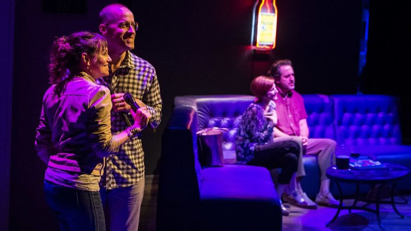 L-R: Sally Murphy, Tim Hopper, (background) Cora Vander Broek and Ian Barford in the Steppenwolf The