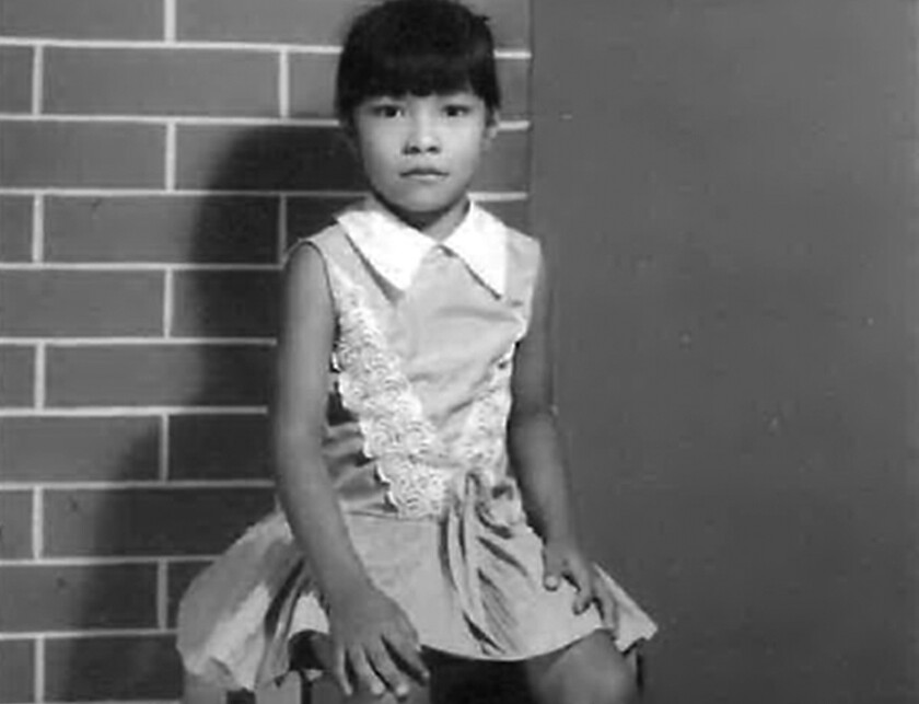 Rep. Norma Torres as a child in a black-and-white photo.