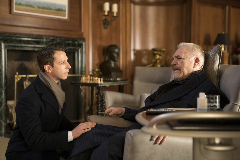 "Jeremy Strong as Kendall Roy, left, and Brian Cox as Logan Roy in HBO's ""Succession."""