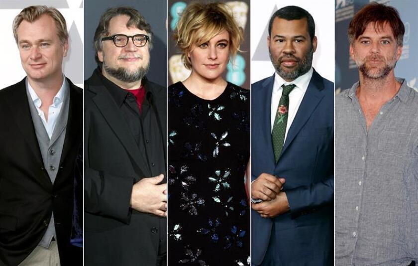 Los directores Christopher Nolan (Durkerque), Guillermo del Toro (La forma del agua), Greta Gerwig (Lady Bird), Jordan Peele (Déjame salir) y Paul Thomas Anderson (El hilo invisible), nominados a la mejor dirección en los Premios Óscar 2018. EFE/Archivo