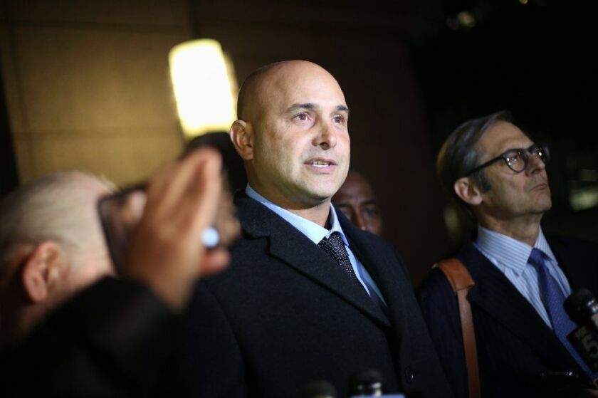Radio talker Craig Carton makes a statement after pleading not guilty at his arraignment in Manhattan Federal Court last Nov. 8. His trial is to begin Oct. 29.