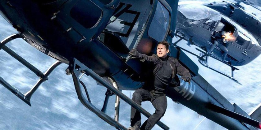 "Tom Cruise hangs from a helicopter in a climactic action sequence in ""Mission: Impossible – Fallout."""