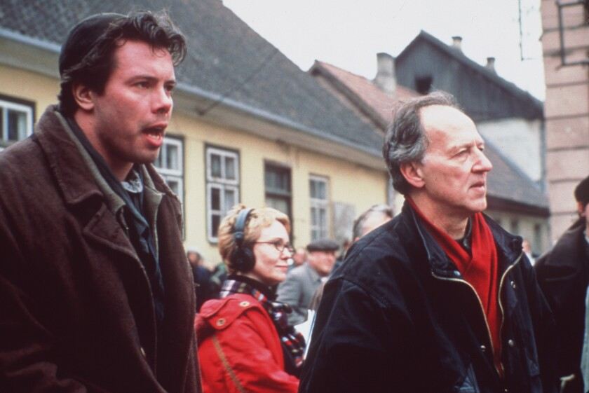 """Werner Herzog (right) on the set of his 2001 film """"Invincible."""""""