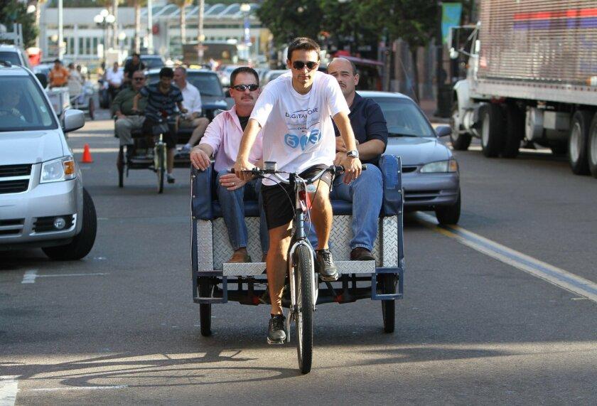 A pedicab near the Convention Center