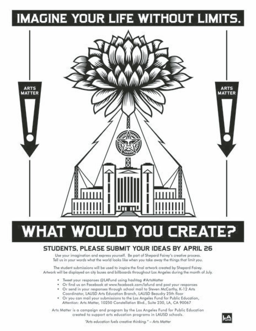 Shepard Fairey is asking L.A. students for ideas for a public-service artwork.