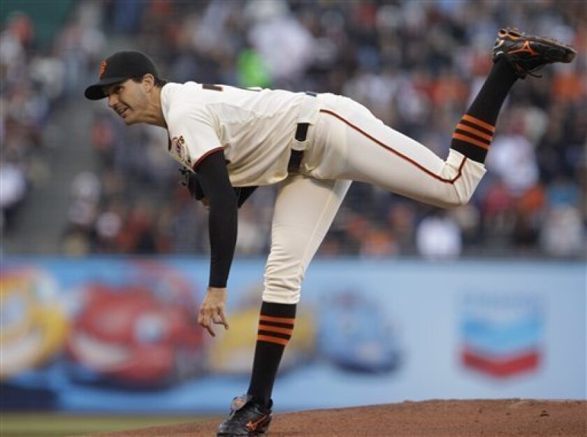 San Francisco Giants' Barry Zito works against the San Diego Padres during the first inning of a baseball game Thursday, July 7, 2011, in San Francisco. (AP Photo/Ben Margot)