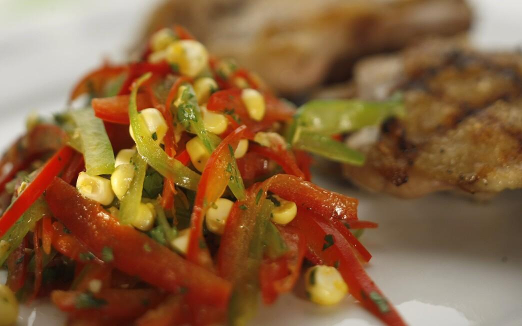 Bell pepper and corn slaw