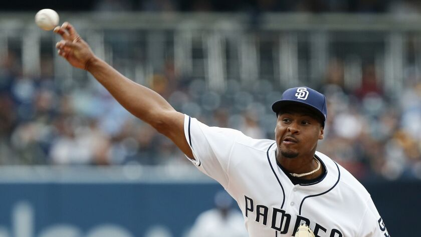 Padres starting pitcher Luis Perdomo allowed five runs in four inning Saturday against the Milwaukee Brewers.