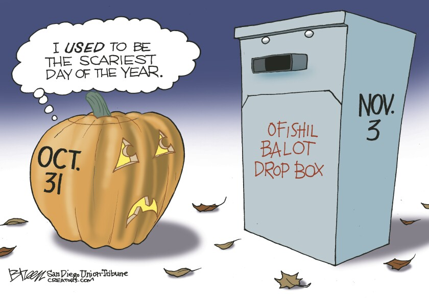In this Breen cartoon, a jack-o-lantern looks at a ballot drop box and comments about the election