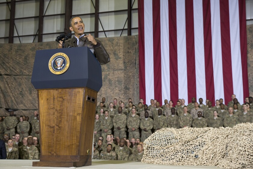 President Obama speaks during a troop rally after arriving at Bagram Airfield for an unannounced visit May 25.