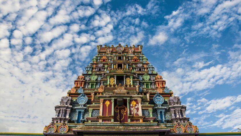 Sri Siva Subramaniya Hindu temple against cloudy sky, Nadi, Viti Leva, Fiji