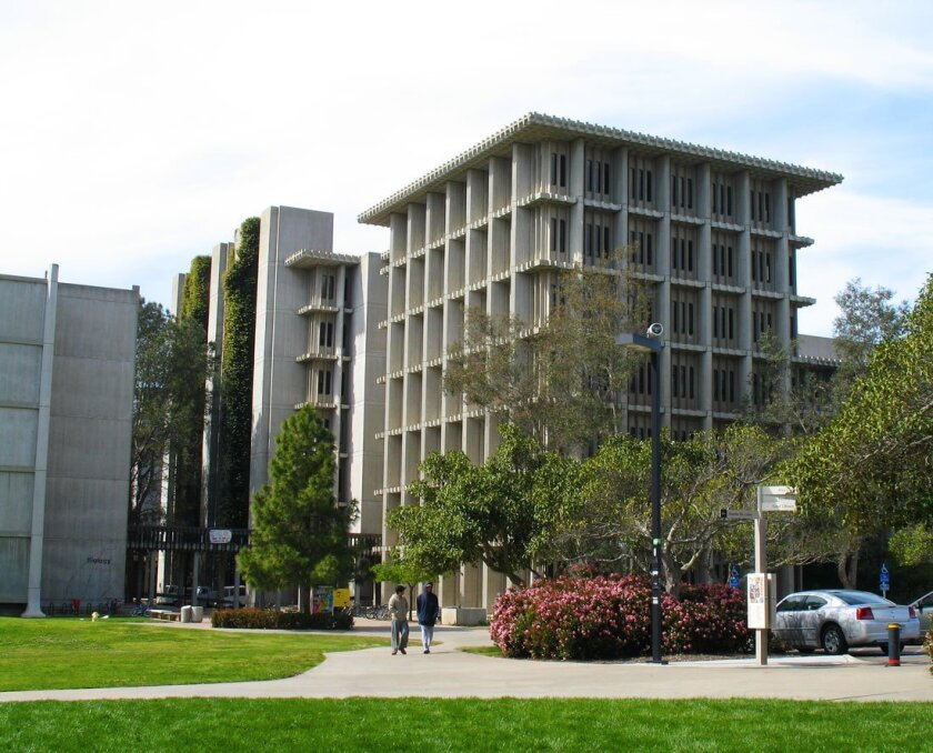 UCSD's Muir College overall design was overseen by Robert Mosher in the 1960s. He designed this building for the applied physics and mathematics departments.