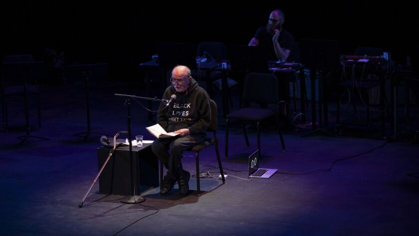 LOS ANGELES, CA - MARCH 26, 2019: Alvin Lucier, 87, a pioneer in strange sounds, performs his famous