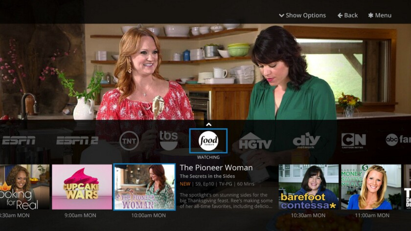 A screen shot from Sling TV's online TV service.